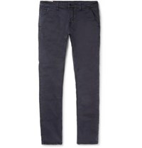 Nudie Jeans Slim Adam Garment Dyed Stretch Organic Cotton Twill Trousers Navy