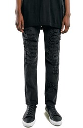 Topman 'Aaa Collection' Shredded Stretch Skinny Fit Jeans Black