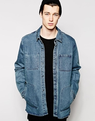 Cheap Monday Denim Jacket Labour Longline Trashed Trasheddenim