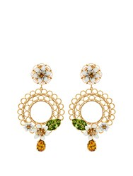 Dolce And Gabbana Daisy Embellished Hoop Earrings White Multi