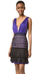 J. Mendel V Neck Dress With Lace Skirt Mulberry
