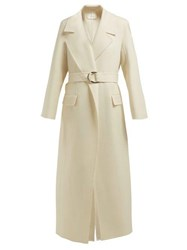 The Row Newen Double Breasted Wool Twill Coat Ivory
