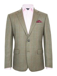 Paul Costelloe Men's Greenwich Wool Check Blazer Green