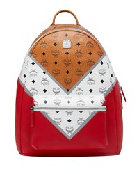 Mcm Stark Logo Visetos Backpack Brown Red