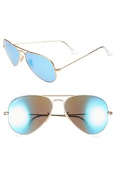 Women's Ray Ban 58Mm Aviator Polarized Sunglasses Gold Blue Mirror