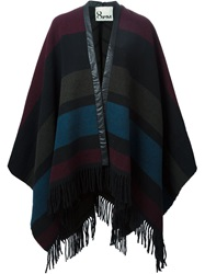 8Pm Fringe Poncho Cape Red