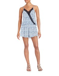 Vintage Havana Sleeveless Lace Accented Romper Navy
