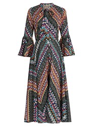 Temperley London Kaleidoscope Print Cotton Dress Black Multi
