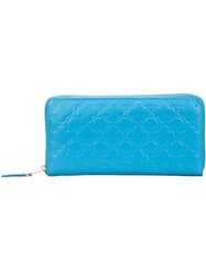 Comme Des Garcons Embossed Long Zip Wallet Blue