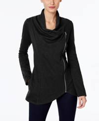 Inc International Concepts Draped Zipper Cardigan Only At Macy's Deep Black
