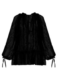 Ann Demeulemeester Floral Embroidered Cotton Voile Blouse Black