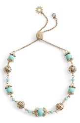 Marchesa Adjustable Slider Bracelet Turquoise Gold