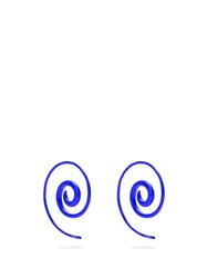 Noor Fares Rainbow Spiral Coated Yellow Gold Earrings Blue