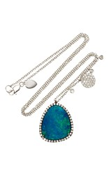 Meira T White Gold Opal Diamond Necklace Blue