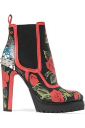 Alexander Mcqueen Embellished Floral Print Ankle Leather Boots Red