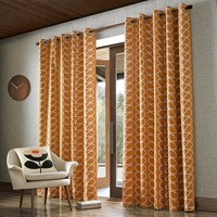 Orla Kiely Linear Stem Eyelet Curtains Papaya Orange