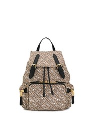 Burberry The Medium Rucksack In Monogram Print Nylon Neutrals