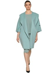 Marina Rinaldi Double Wool Cocoon Coat Light Blue