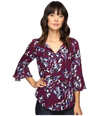 Ivanka Trump Printed Ruffle Sleeve Georgette Top Wine Navy Women's Clothing