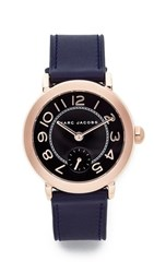 Marc Jacobs Riley Leather Watch Rose Gold Black Navy