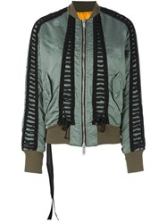 Unravel Lace Up Bomber Jacket Green