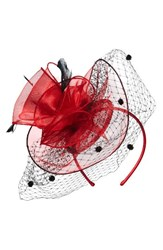 Nordstrom Women's Dot And Feather Fascinator Headband Red Red Combo