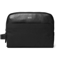 Hugo Boss Meridian Cross Grain Leather Trimmed Nylon Wash Bag Black