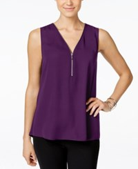 Inc International Concepts Sleeveless Zippered Knit Back Top Only At Macy's Purple Paradise