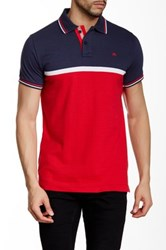 Micros Regular Fit Short Sleeve Colorblock Polo Blue
