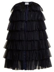 Osman Valeria Ostrich Feather Trimmed Cape Navy