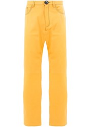 Wales Bonner High Waist Trousers Yellow And Orange