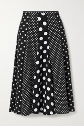 Michael Kors Collection Polka Dot Crepe Midi Skirt Black