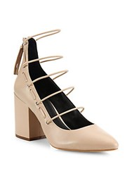 Rebecca Minkoff Lexi Strappy Leather Block Heel Pumps Latte