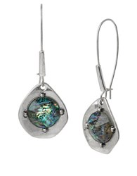 Robert Lee Morris Blue Dimensions Silvertone Abalone Drop Earrings