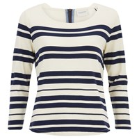 Maison Scotch Women's Breton Stripe 3 4 Sleeve T Shirt With Zipper At Back Multi