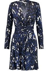 Issa Harleth Leopard Print Jersey Dress Royal Blue