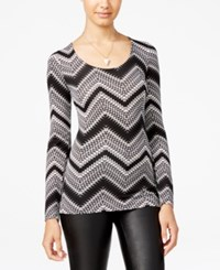 Ultra Flirt Juniors' Long Sleeve Ballet Tee Chevron Black