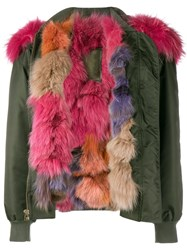 Mr And Mrs Italy Raccoon Fur Trimmed Bomber Jacket Green