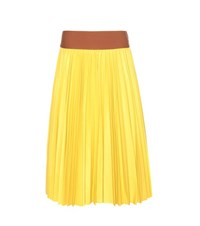 Marni Pleated Leather Skirt Yellow