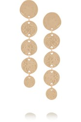 Kenneth Jay Lane Hammered Gold Plated Coin Drop Earrings One Size