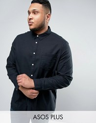 Asos Plus Regular Fit Slubby Viscose Shirt In Black Black