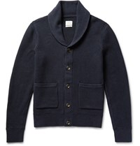 Rag And Bone Avery Hawl Collar Textured Knit Cotton Cardigan Midnight Blue