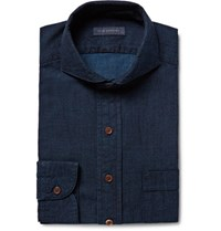 Thom Sweeney Blue Cutaway Collar Cotton Chambray Shirt Storm Blue
