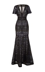J. Mendel Mixed Lace V Neck Gown Black