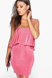 Boohoo Strappy Double Layer Bodycon Dress Coral