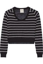 Mason By Michelle Mason Striped Cashmere And Silk Crepe De Chine Sweater Black