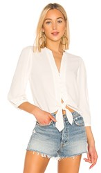 1.State 1. State Split Neck Tie Waist Blouse In White. Soft Ecru