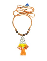 Rad Golden Chain And Orange Satin Long Necklace W Pendant