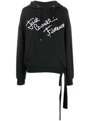Just Cavalli Embroidered Logo Hooded Sweatshirt Black
