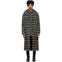 Faith Connexion Black And Yellow Tweed Oversized Long Coat